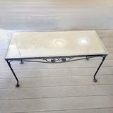 Wrought Iron Patio Coffee Table with Plexiglas Top