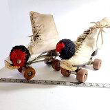 Vintage Roller Derby Roller Skates With Pom Poms And Bells