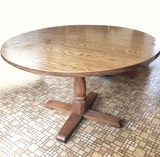 Vintage Round Pedestal Table with Solid Wood Base, Laminate Top