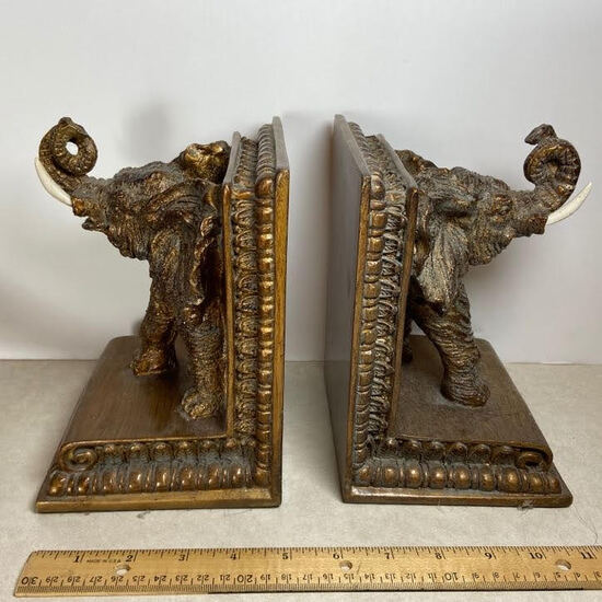 Pair of Molded Resin Bronze Tone Elephant Bookends