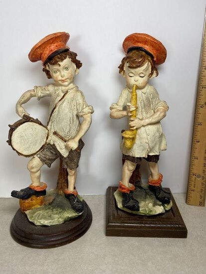 Pair of Decorative Molded Resin Children with Musical Instruments Figurines