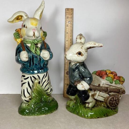 Pair of Ceramic Bunny Figurines