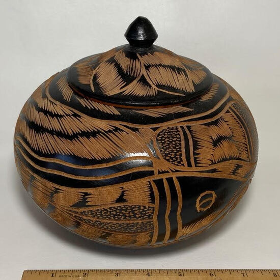 Beautifully Carved Vintage Wooden Vessel with Lid & Fish Design