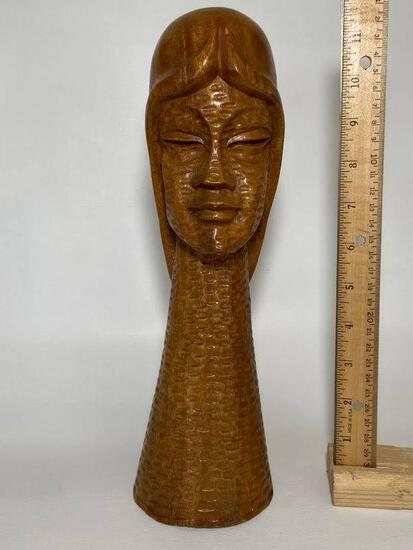 Vintage Solid Wood Carved Bust of Lady