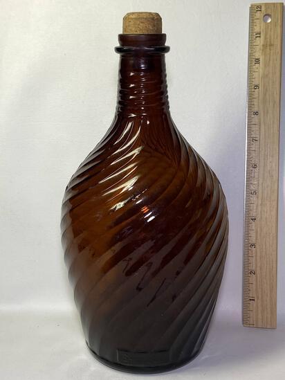 Vintage Duraglas Brown Swirled Glass Bottle with Cork Top