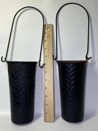 Pair of Black Metal Wall Pockets