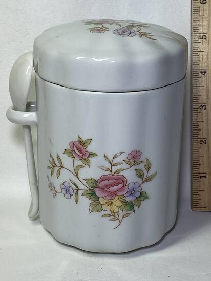 Porcelain Floral Lidded Jar with Spoon