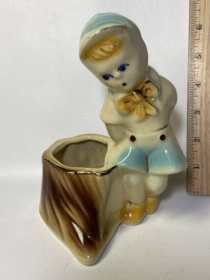 Vintage Little Boy Pottery Planter USA