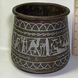 Heavy Vintage Etched Copper Pot