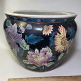 Large Porcelain Oriental Jardiniere with Koi Fish Interior & Embossed Floral Design