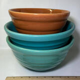 Lot of 3 Multi-Colored Ribbed Pottery Bowls - One Marked Bauer