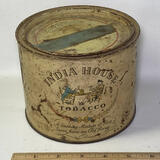 Antique India House Tobacco Tin with Lid