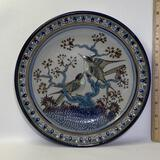 Decorative Mexican Pottery Plate with Bird Scene