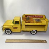 Large Vintage Buddy L Coca Cola Delivery Truck with 2 Crates & Some Bottles