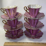 12 pc Shafford Hand Decorated Tea Cup Set with Gilt Accent & Iridescent Interior