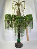 Beautiful Candle Lamp with Metal Base & Hanging Green Crystal & Beads