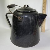 Large Vintage Granite-ware Tea Pot with Lid