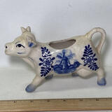 Vintage Blue & White Porcelain Cow Creamer