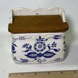 Pretty Vintage Blue & White Pottery Salt Box w/  Wooden Top & Hole for Hanging