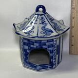 Blue & White Porcelain Decorative Pagoda  Bird House