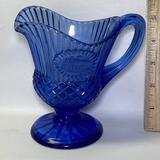 Nice Cobalt Glass Pedestal Pitcher/Creamer