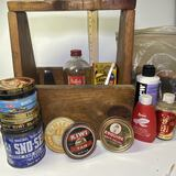 Vintage Handcrafted Crafted Shoe Shine Caddy with Vintage Accessories