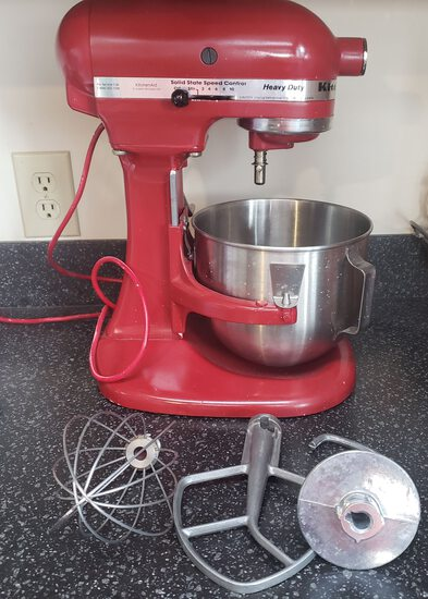 Kitchen Aid Red Heavy Duty Mixer With 3 Attachments, Works