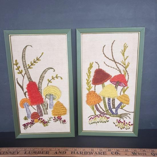 Lot of 2 Vintage Framed Mushroom Crewel Embroidery Designs