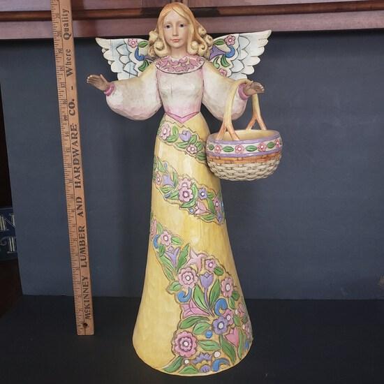 Huge 2004 Jim Shore Heartwood Creek Garden Angel with Basket Statue
