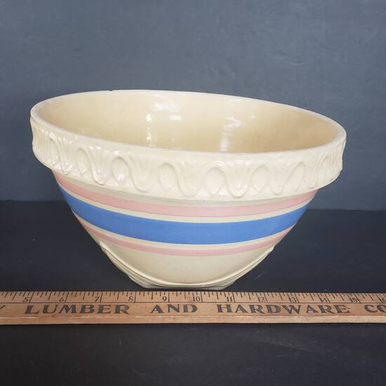 Antique McCoy Ribbed Striped Blue, Pink Nesting Mixing Bowl
