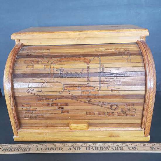 Vintage Wood Bread Box With Engraved Design