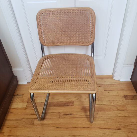 Mid Century Thonet Cesca Style Armless Chrome And Rattan Bent Tube Chair