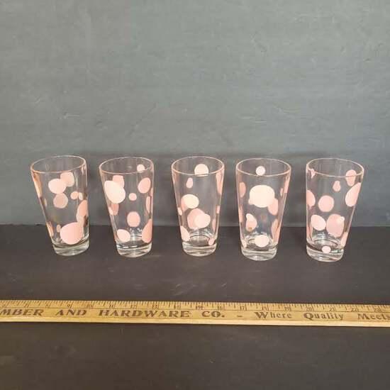 Lot of 5 Vintage Pink Polka Dot Glass Tumblers