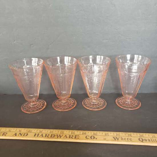 Lot of 4 Pink Depression Footed Tumblers