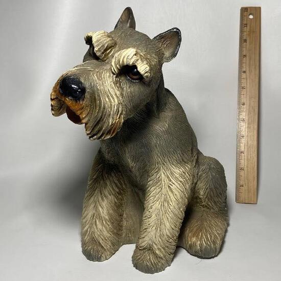 Adorable Large Schnauzer Dog Statue
