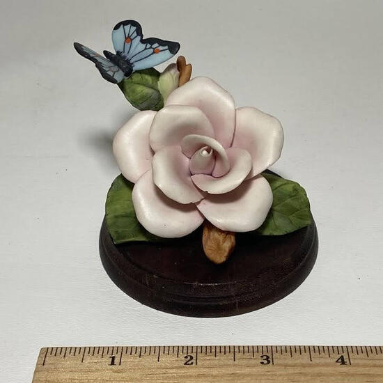 1986 Lefton China Pink Rose with Butterfly Figurine on Wooden Base