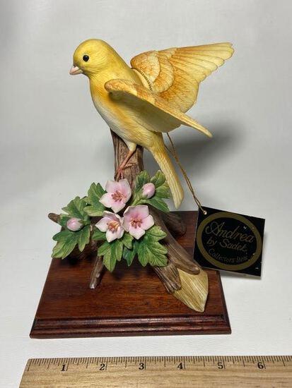 Andrea by Sadek Porcelain Canary Figurine on Wooden Base