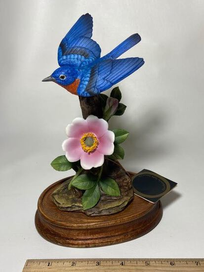 1989 Andrea by Sadek Bluebird with Wild Roses Figurine on Wooden Base