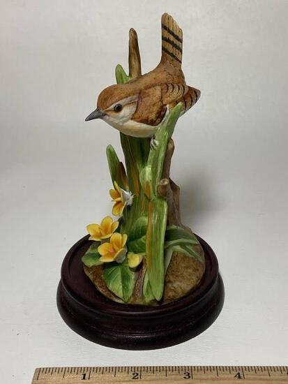 1986 Andrea by Sadek Carolina Wren Porcelain Figurine on Wooden Base
