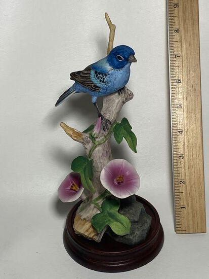 Porcelain Andrea by Sadek Indigo Bunting Bird Figurine on Wooden Base