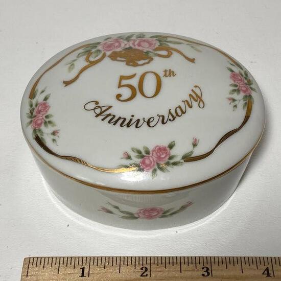 1988 Lefton China 50th Anniversary Trinket Box