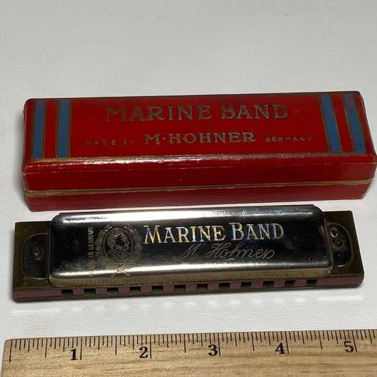 M. Hohner Marine Band Harmonica with Box & Pamphlet