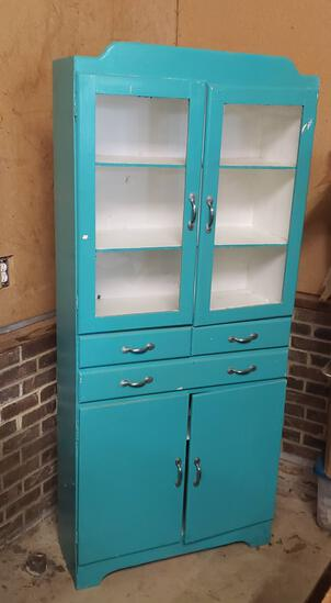 Vintage Turquoise Painted Wooden Dish Cabinet