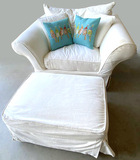 Ivory Over Sized Arm Chair with Ottoman