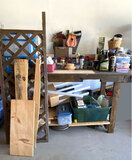 Work Bench Full of Misc Hardware, Tools, Wood, Trellis, Home Décor, Chemicals & More