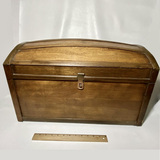 Nice Small Wooden Camel Top Trunk with Floral Lining