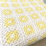 Yellow & White Hand Crocheted Afghan