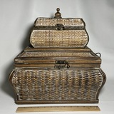 Pair of Woven Wooden Nesting Chests