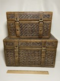 Pair of Cool Wooden & Hinged Boxes with Woven Exterior