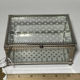 Sweet Silver Tone & Glass Hinged Trinket Box with Glass Bottom & Heart Top w/Original Tags